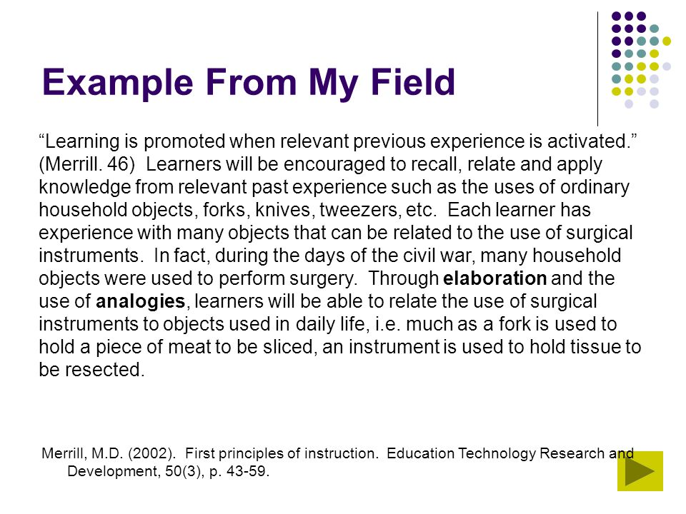 """Example From My Field """"Learning is promoted when relevant previous experience is activated."""" (Merrill. 46) Learners will be encouraged to recall, rela"""