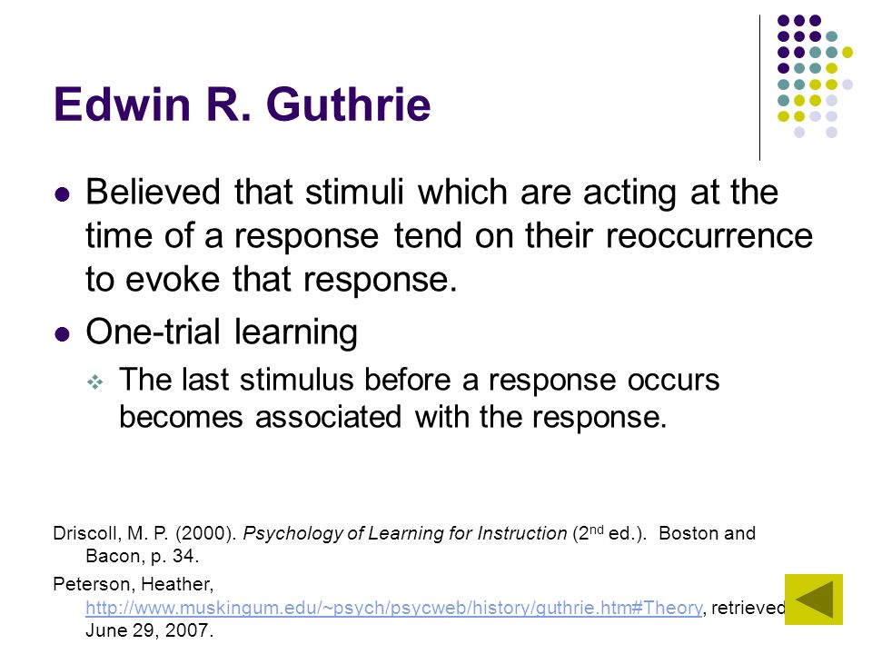 Edwin R. Guthrie Believed that stimuli which are acting at the time of a response tend on their reoccurrence to evoke that response. One-trial learnin