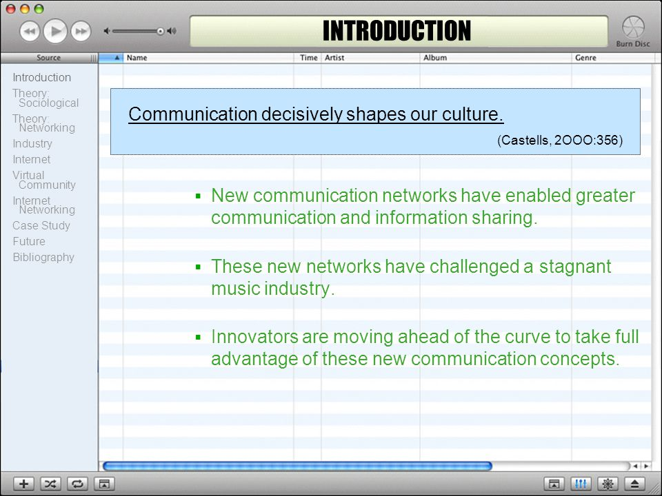 Introduction Theory: Sociological Theory: Networking Industry Internet Virtual Community Internet Networking Case Study Future Bibliography INTRODUCTION  New communication networks have enabled greater communication and information sharing.