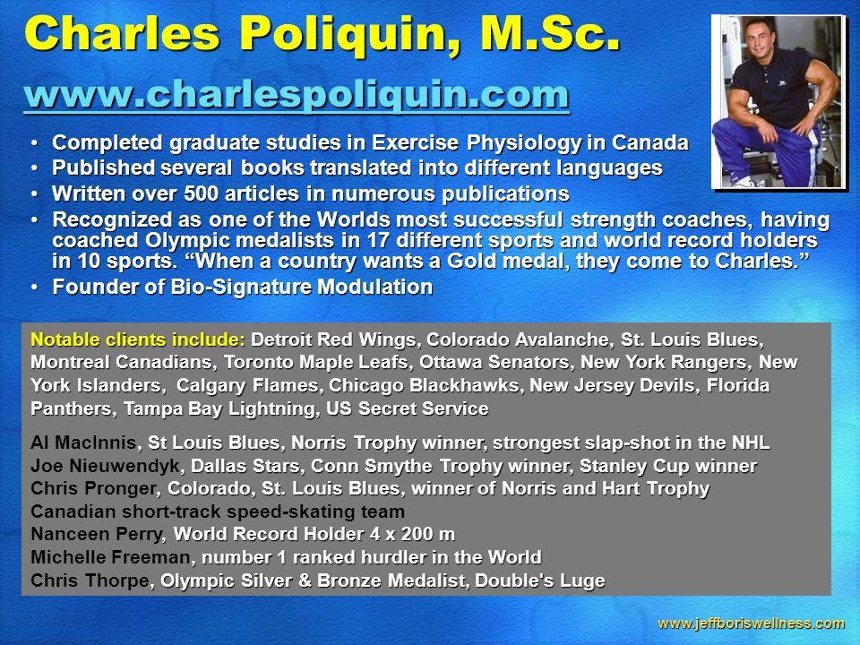 www.jeffboriswellness.com Charles Poliquin, M.Sc.