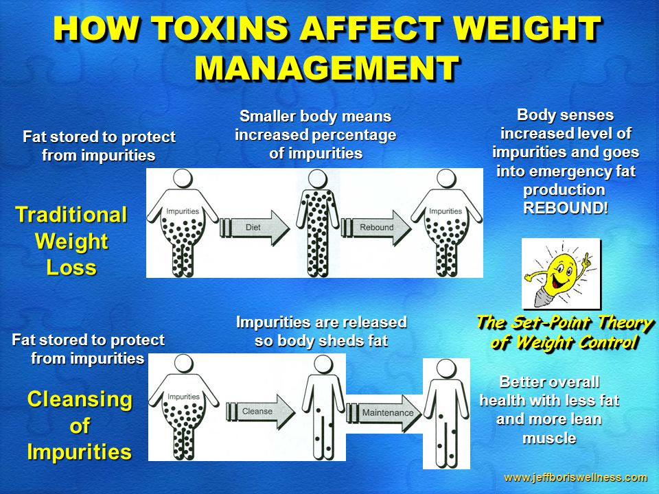 www.jeffboriswellness.com HOW TOXINS AFFECT WEIGHT MANAGEMENT Fat stored to protect from impurities Impurities are released so body sheds fat Better overall health with less fat and more lean muscle Cleansing of Impurities Traditional Weight Loss Smaller body means increased percentage of impurities Body senses increased level of impurities and goes into emergency fat production  REBOUND.