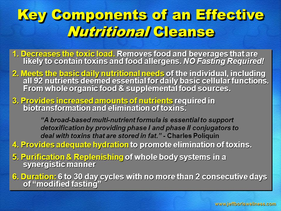 www.jeffboriswellness.com 1. Decreases the toxic load.