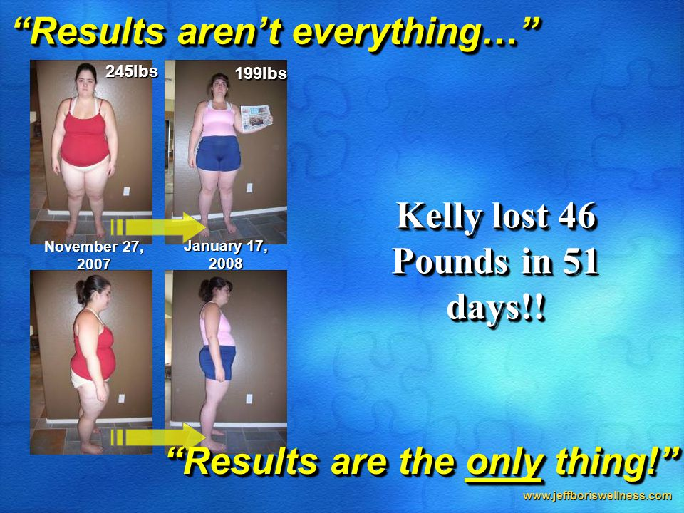 "www.jeffboriswellness.com ""Results aren't everything…"" November 27, 2007 245lbs January 17, 2008 199lbs Kelly lost 46 Pounds in 51 days!! ""Results are"