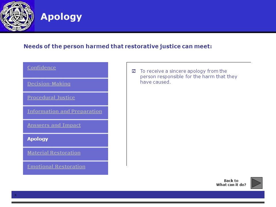Apology x  To receive a sincere apology from the person responsible for the harm that they have caused. Needs of the person harmed that restorative j