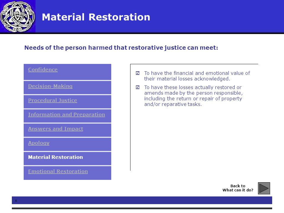 Material Restoration x  To have the financial and emotional value of their material losses acknowledged.  To have these losses actually restored or