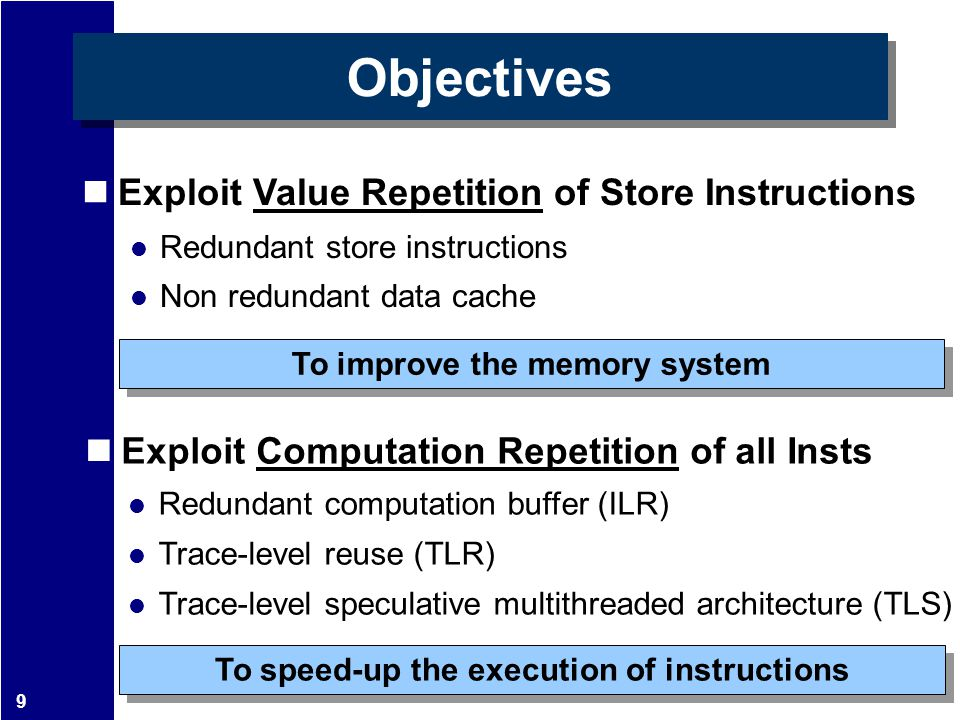 9 Objectives Exploit Value Repetition of Store Instructions Redundant store instructions Non redundant data cache To improve the memory system Exploit Computation Repetition of all Insts Redundant computation buffer (ILR) Trace-level reuse (TLR) Trace-level speculative multithreaded architecture (TLS) To speed-up the execution of instructions