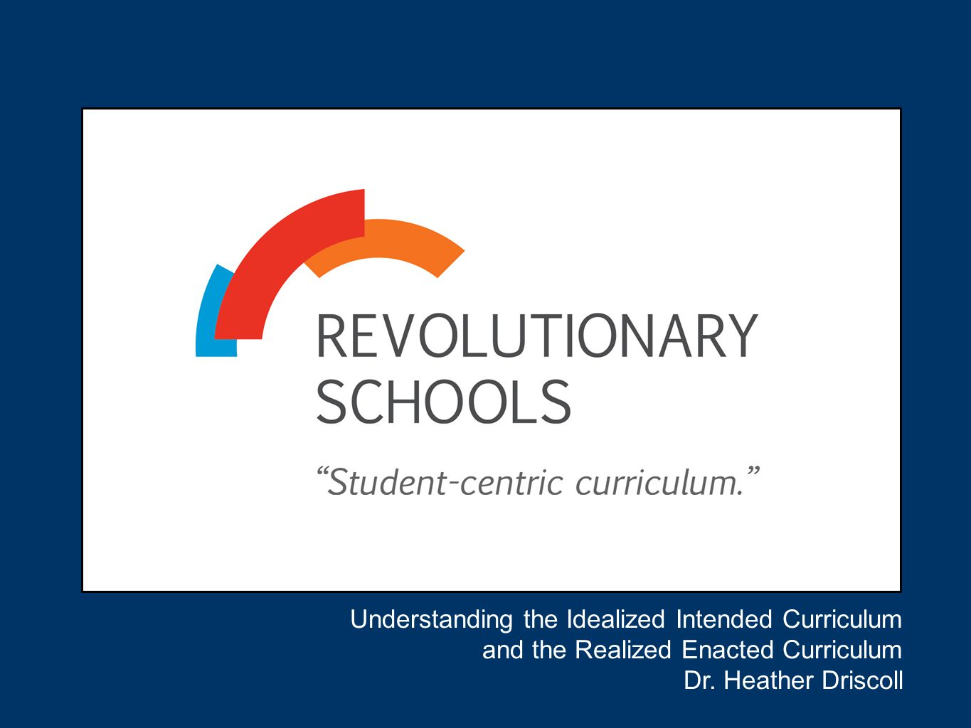 Understanding the Idealized Intended Curriculum and the Realized Enacted Curriculum Dr. Heather Driscoll