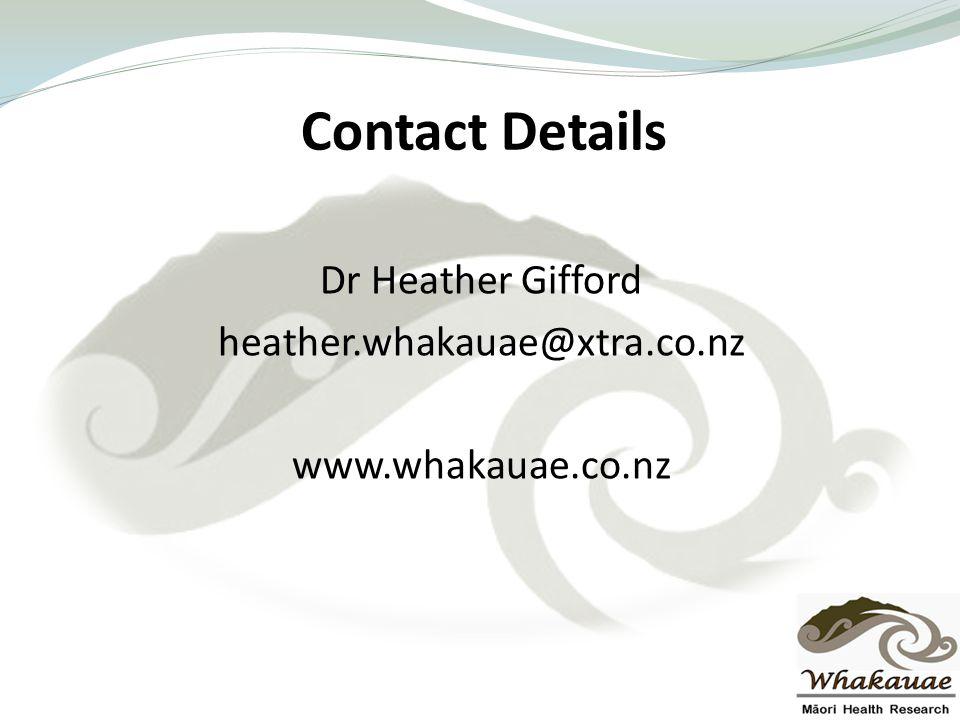 Contact Details Dr Heather Gifford heather.whakauae@xtra.co.nz www.whakauae.co.nz
