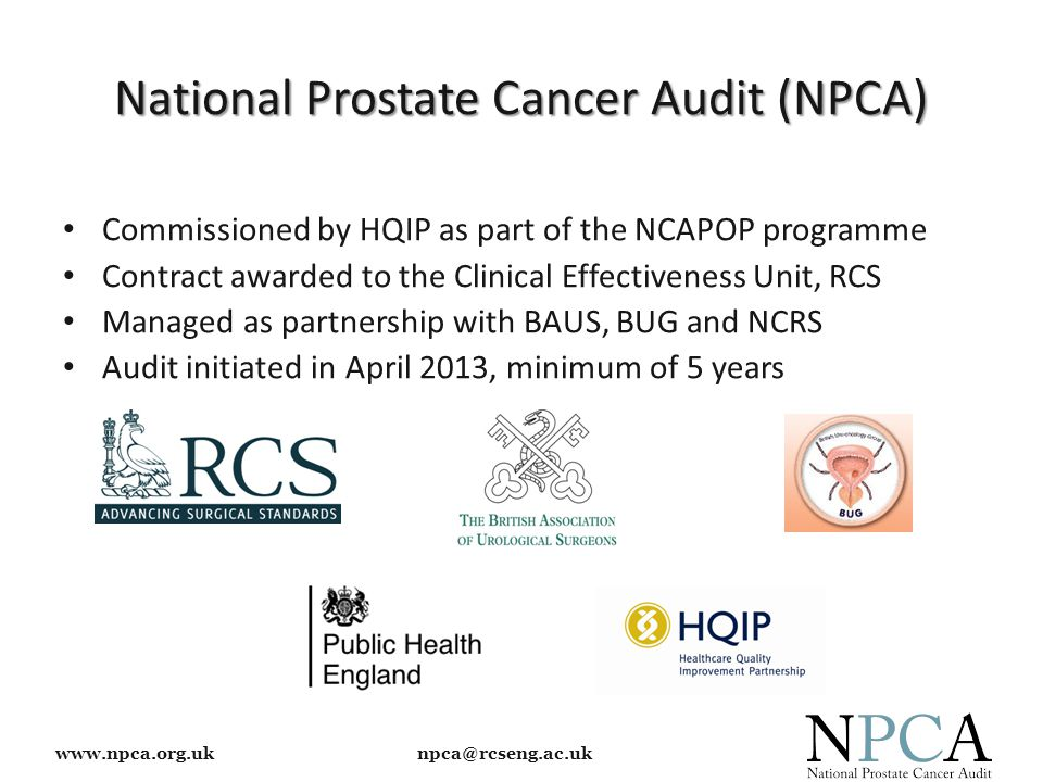 www.npca.org.uk npca@rcseng.ac.uk National Prostate Cancer Audit (NPCA) Commissioned by HQIP as part of the NCAPOP programme Contract awarded to the Clinical Effectiveness Unit, RCS Managed as partnership with BAUS, BUG and NCRS Audit initiated in April 2013, minimum of 5 years