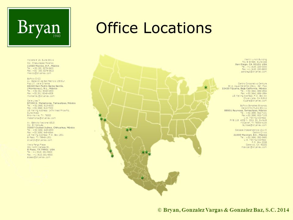 BGV&GB Office Locations Moliere # 13, Suite 301-A Col.