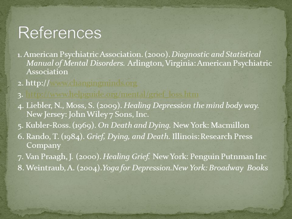 1. 1. American Psychiatric Association. (2000).