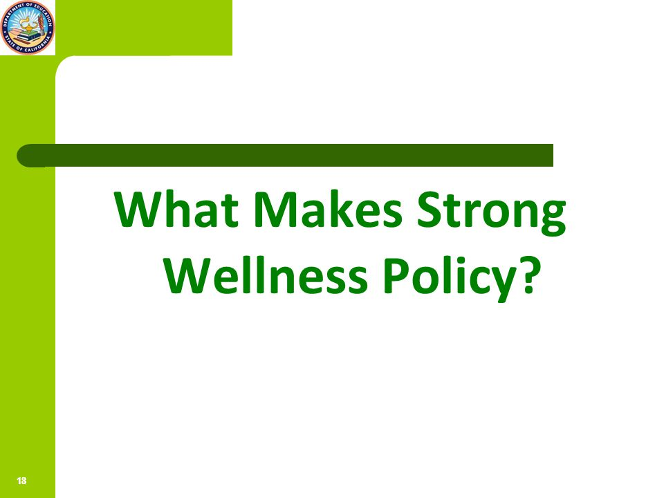 19 Polling Question How strong is your own wellness policy? – Strong – Fair – Weak