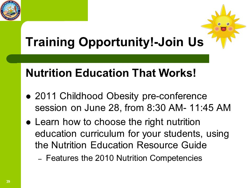 39 Training Opportunity!-Join Us Nutrition Education That Works.