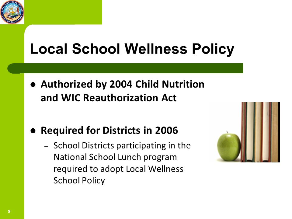 99 Local School Wellness Policy Authorized by 2004 Child Nutrition and WIC Reauthorization Act Required for Districts in 2006 – School Districts participating in the National School Lunch program required to adopt Local Wellness School Policy