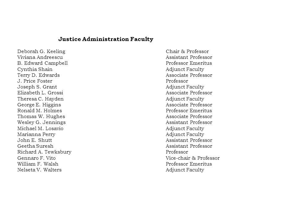 Justice Administration Faculty Deborah G.