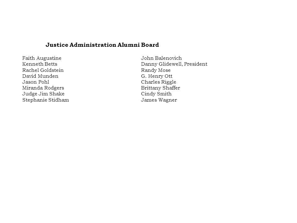 Justice Administration Alumni Board Faith AugustineJohn Balenovich Kenneth BettsDanny Glidewell, President Rachel GoldsteinRandy Mose David MundenG.