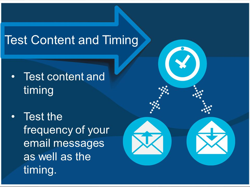 Test content and timing Test the frequency of your email messages as well as the timing. Test Content and Timing