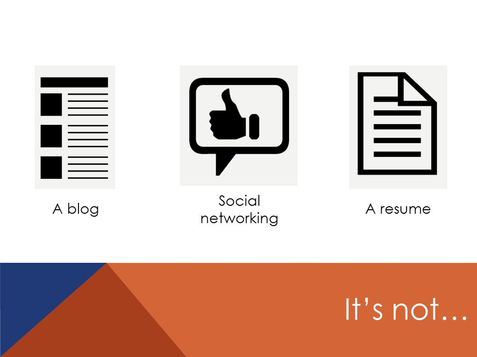 A blog Social networking A resume It's not…