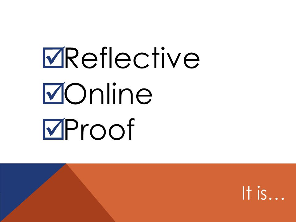  Reflective  Online  Proof It is…