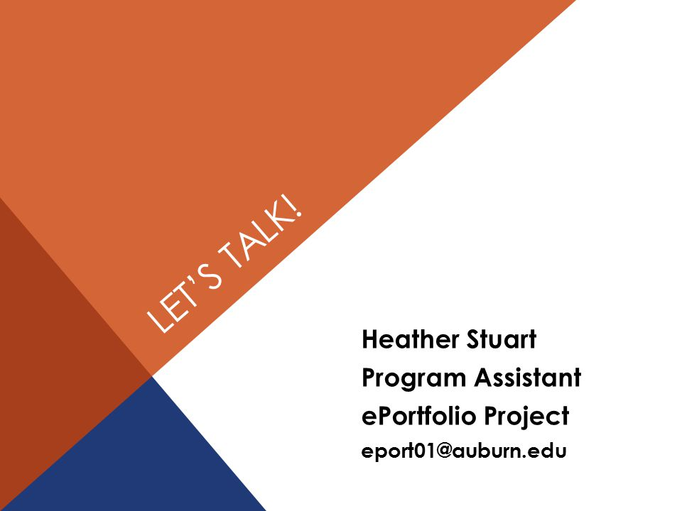 LET'S TALK! Heather Stuart Program Assistant ePortfolio Project eport01@auburn.edu