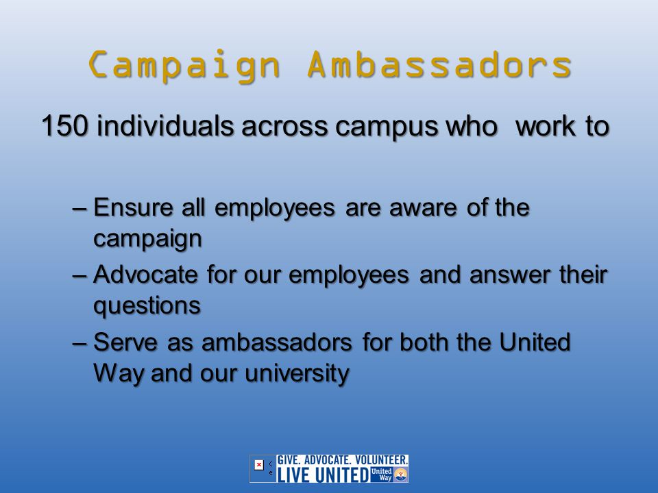 Campaign Ambassadors 150 individuals across campus who work to –Ensure all employees are aware of the campaign –Advocate for our employees and answer their questions –Serve as ambassadors for both the United Way and our university