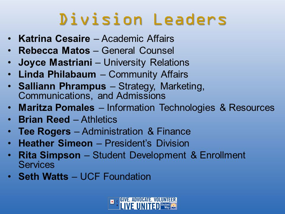 Division Leaders Katrina Cesaire – Academic Affairs Rebecca Matos – General Counsel Joyce Mastriani – University Relations Linda Philabaum – Community Affairs Salliann Phrampus – Strategy, Marketing, Communications, and Admissions Maritza Pomales – Information Technologies & Resources Brian Reed – Athletics Tee Rogers – Administration & Finance Heather Simeon – President's Division Rita Simpson – Student Development & Enrollment Services Seth Watts – UCF Foundation