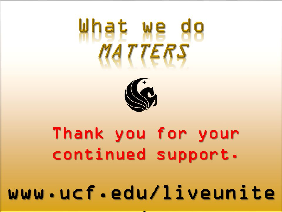 Thank you for your continued support. www.ucf.edu/liveunite d