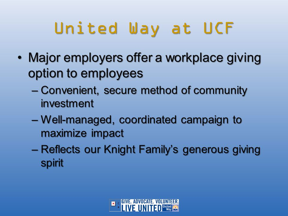 Making an Impact We reached out to local charities and asked about UCF's impact through our campaign.We reached out to local charities and asked about UCF's impact through our campaign.