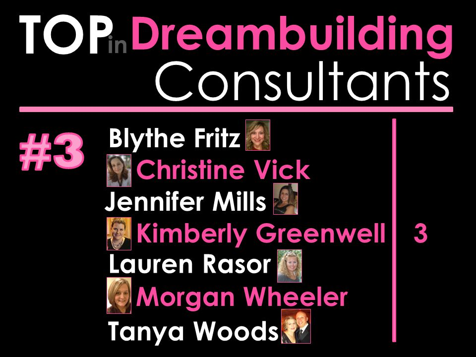 Consultants Dreambuilding TOP in 3 Blythe Fritz Christine Vick Jennifer Mills Kimberly Greenwell Lauren Rasor Morgan Wheeler Tanya Woods