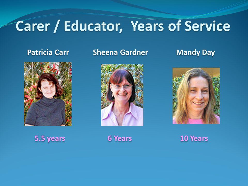 Carer / Educator, Years of Service Patricia Carr Sheena Gardner Mandy Day 5.5 years 6 Years 10 Years Patricia Carr Sheena Gardner Mandy Day 5.5 years 6 Years 10 Years