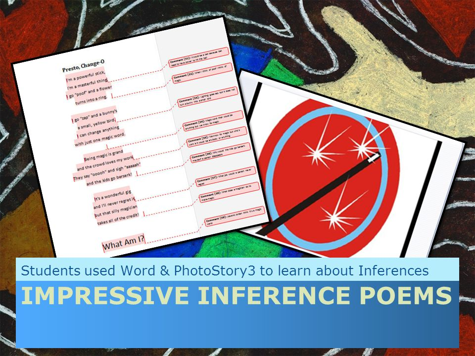 IMPRESSIVE INFERENCE POEMS Students used Word & PhotoStory3 to learn about Inferences