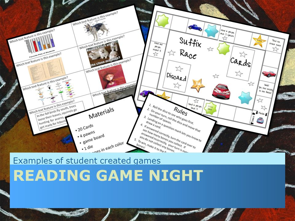 Examples of student created games READING GAME NIGHT