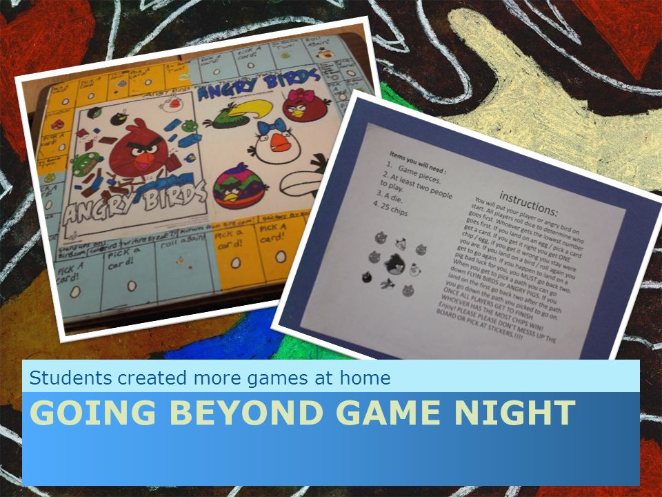 GOING BEYOND GAME NIGHT Students created more games at home