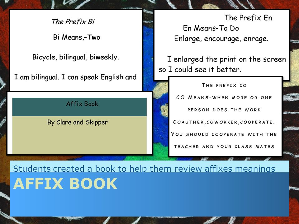 Students created a book to help them review affixes meanings AFFIX BOOK