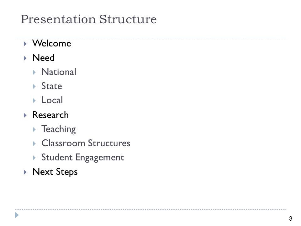 3 Presentation Structure  Welcome  Need  National  State  Local  Research  Teaching  Classroom Structures  Student Engagement  Next Steps