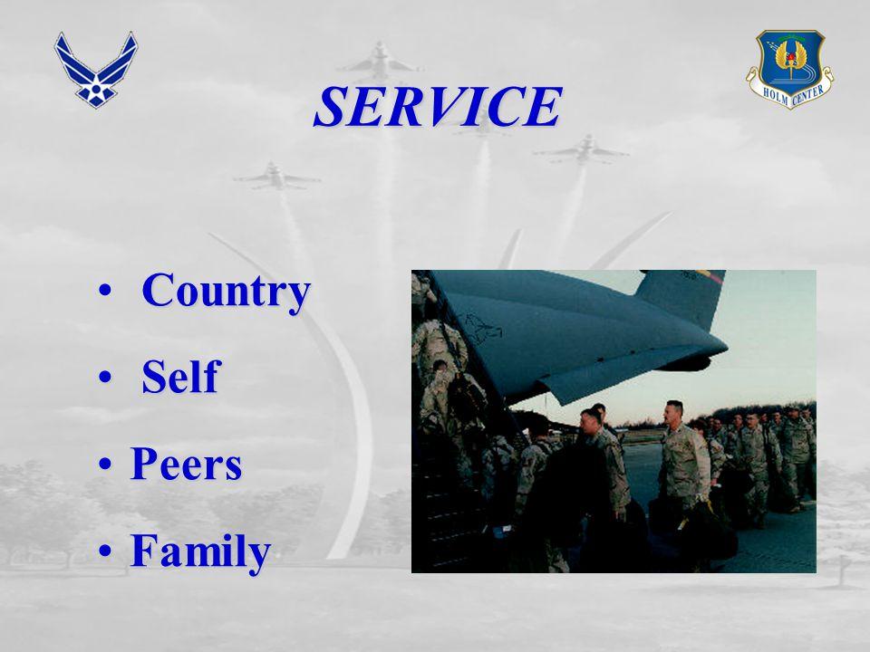SERVICE Country Self Self PeersPeers FamilyFamily
