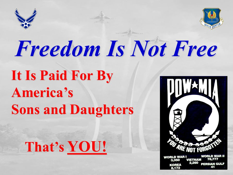 Freedom Is Not Free It Is Paid For By America's Sons and Daughters That's YOU!