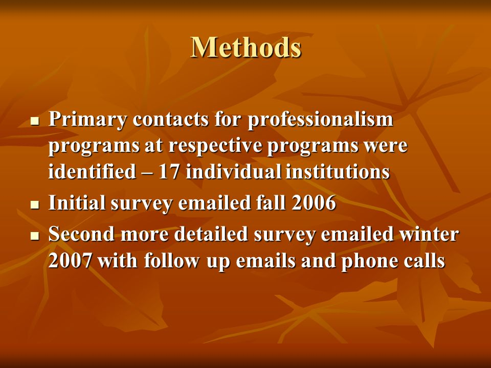 Methods Primary contacts for professionalism programs at respective programs were identified – 17 individual institutions Primary contacts for professionalism programs at respective programs were identified – 17 individual institutions Initial survey emailed fall 2006 Initial survey emailed fall 2006 Second more detailed survey emailed winter 2007 with follow up emails and phone calls Second more detailed survey emailed winter 2007 with follow up emails and phone calls