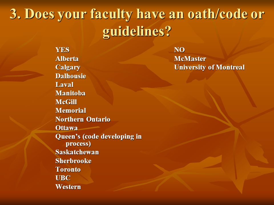 3. Does your faculty have an oath/code or guidelines.