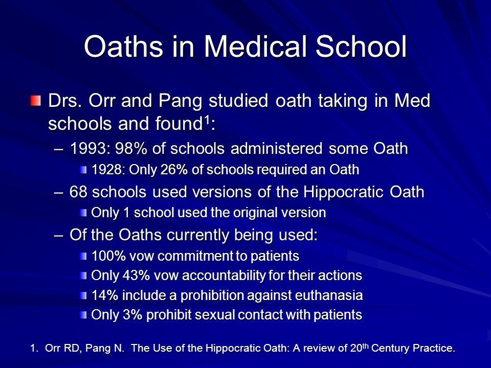 Oaths in Medical School Drs.