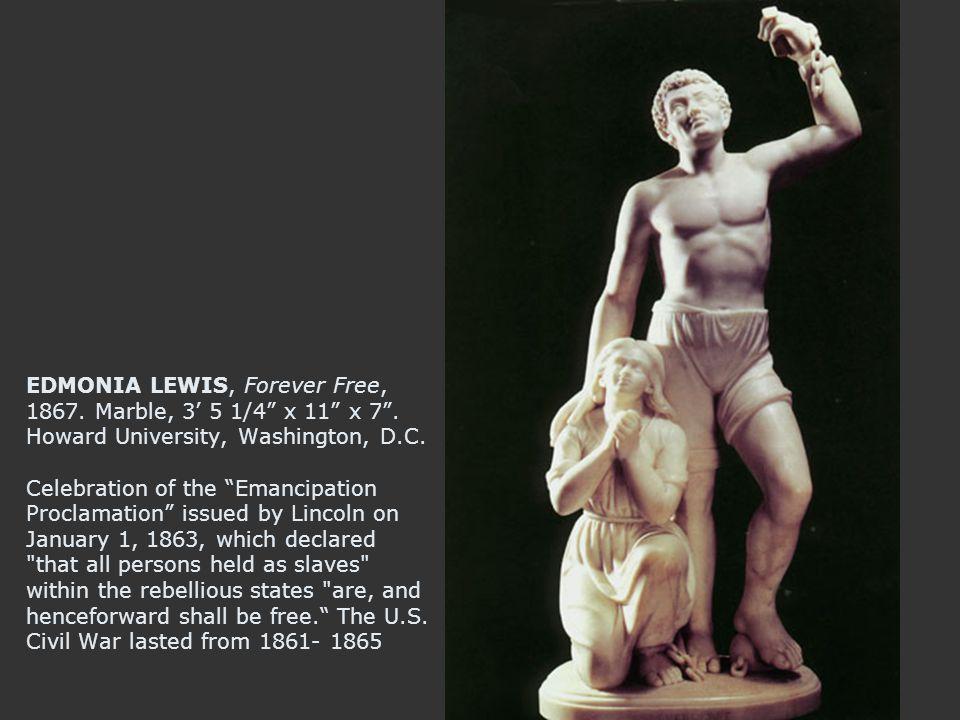 EDMONIA LEWIS, Forever Free, 1867. Marble, 3' 5 1/4 x 11 x 7 .