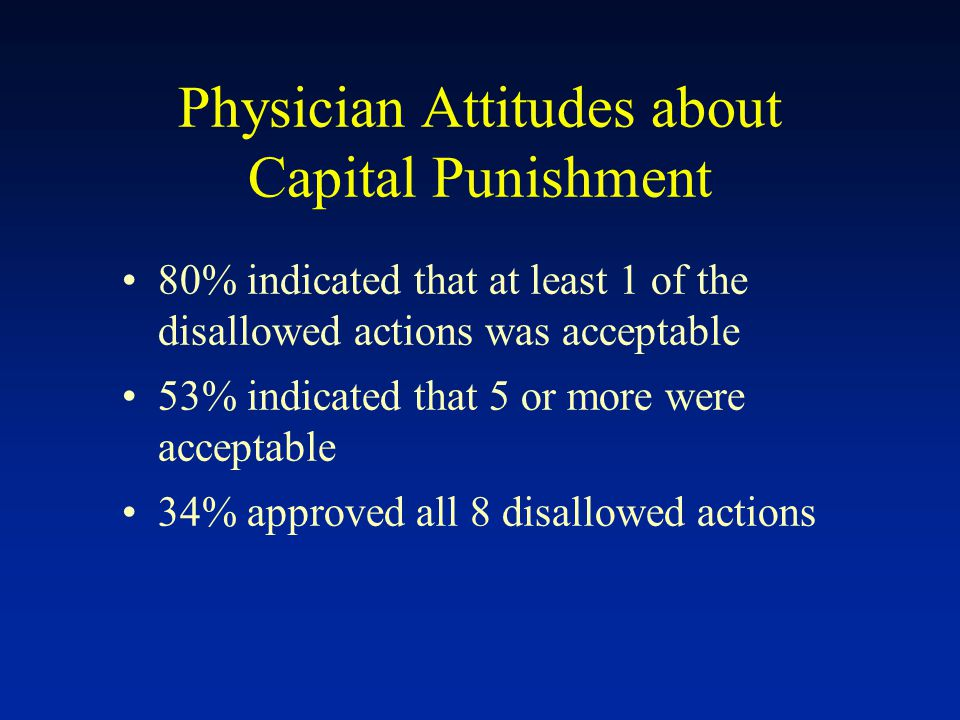 Physician Attitudes about Capital Punishment 80% indicated that at least 1 of the disallowed actions was acceptable 53% indicated that 5 or more were acceptable 34% approved all 8 disallowed actions