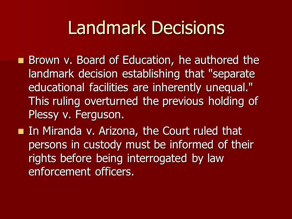 Landmark Decisions Brown v.