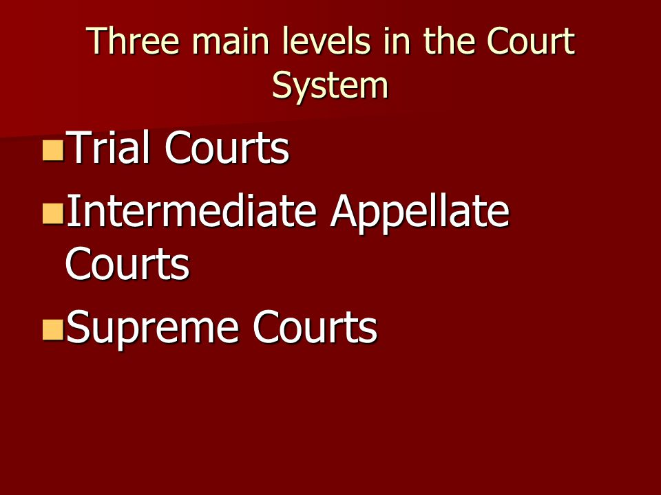 Three main levels in the Court System Trial Courts Trial Courts Intermediate Appellate Courts Intermediate Appellate Courts Supreme Courts Supreme Courts