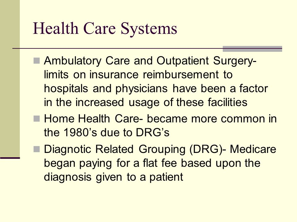 Health Care Systems Ambulatory Care and Outpatient Surgery- limits on insurance reimbursement to hospitals and physicians have been a factor in the in