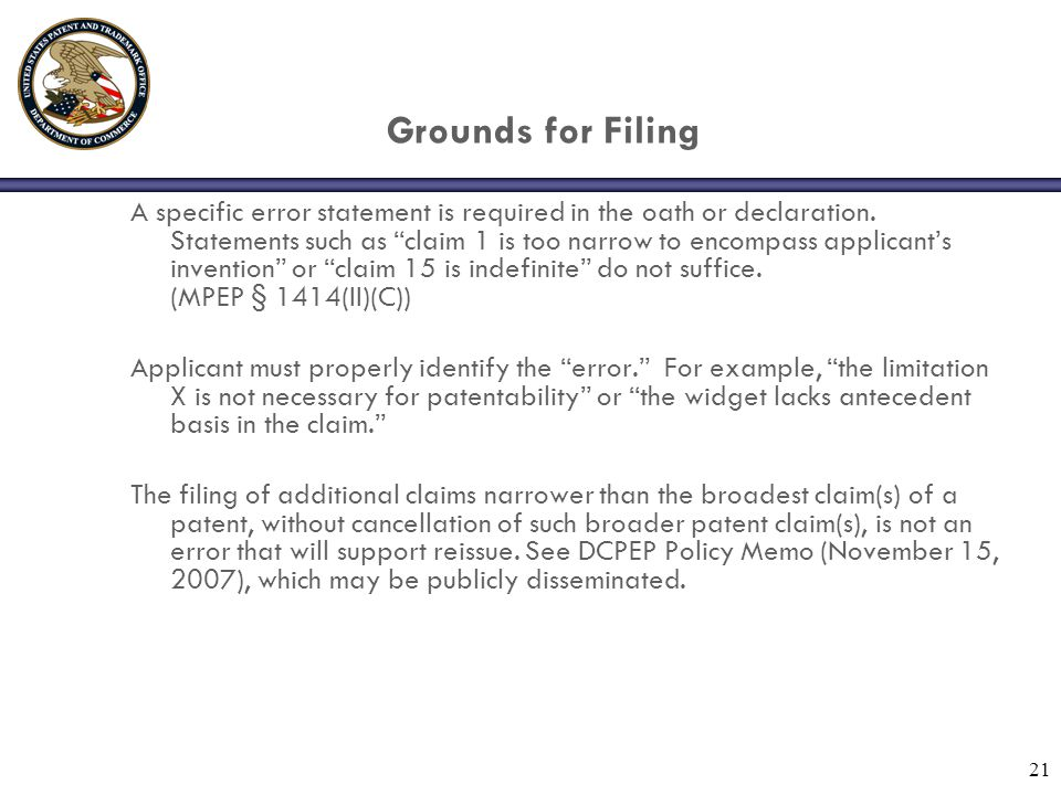 21 Grounds for Filing A specific error statement is required in the oath or declaration.