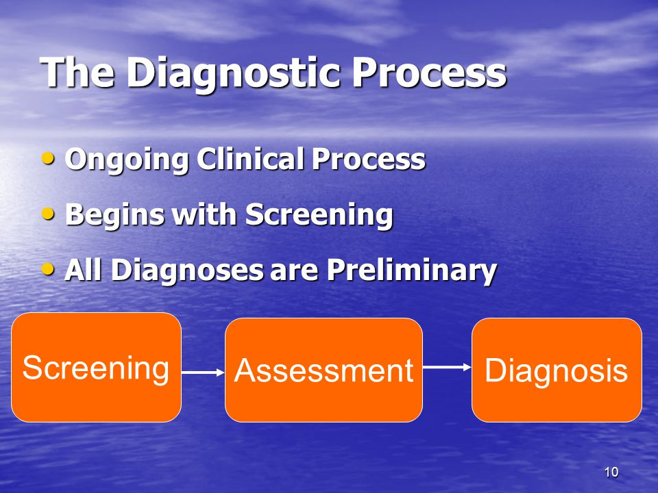 10 The Diagnostic Process Ongoing Clinical Process Ongoing Clinical Process Begins with Screening Begins with Screening All Diagnoses are Preliminary