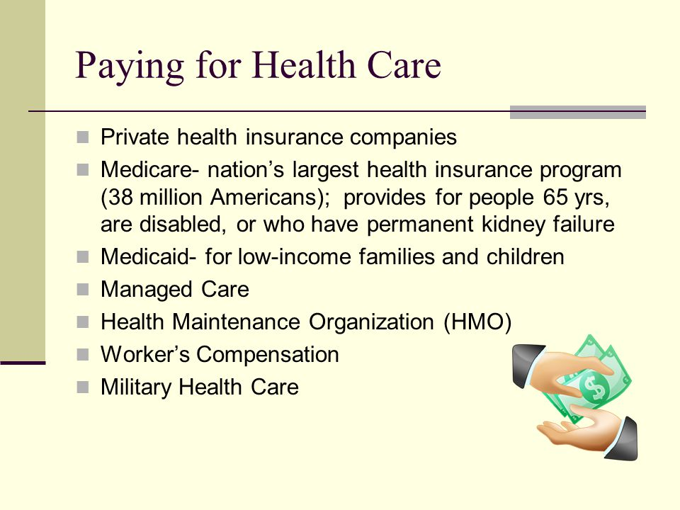 Paying for Health Care Private health insurance companies Medicare- nation's largest health insurance program (38 million Americans); provides for people 65 yrs, are disabled, or who have permanent kidney failure Medicaid- for low-income families and children Managed Care Health Maintenance Organization (HMO) Worker's Compensation Military Health Care