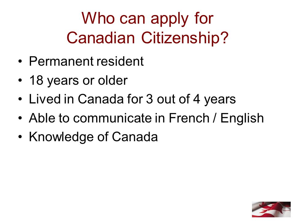 Who can apply for Canadian Citizenship.