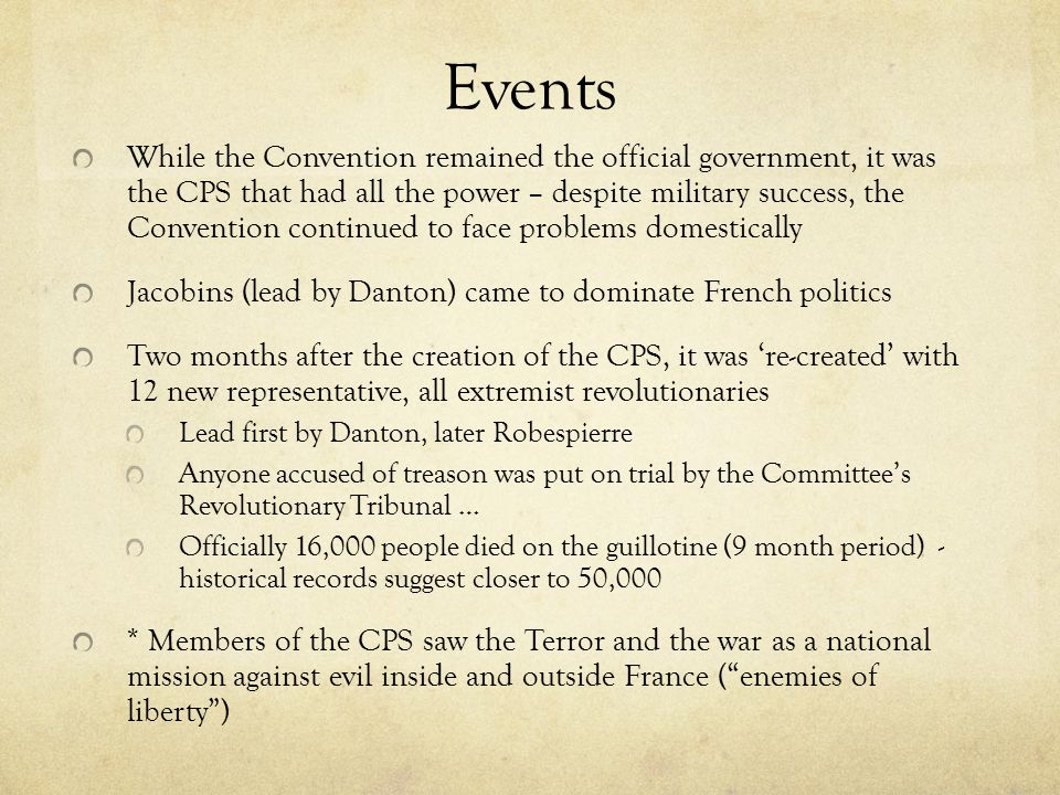 Events While the Convention remained the official government, it was the CPS that had all the power – despite military success, the Convention continu